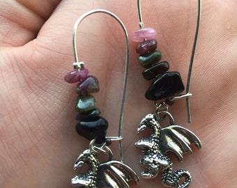 Dragon Obsidian Tourmaline Earrings