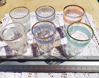 Vintage 1970's gold rimmed shot glasses