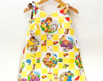 SALE reversible little girl's dress, children's clothing, tank dress, baby dress, vintage fabric, yellow dress, animal print dress