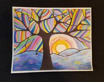 Tree of Life Acrylic Painting Print