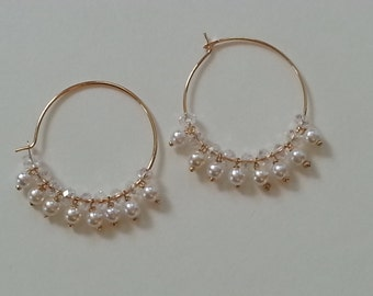 crystal,pearl hoop earrings, 22kt gold plated earring hoops