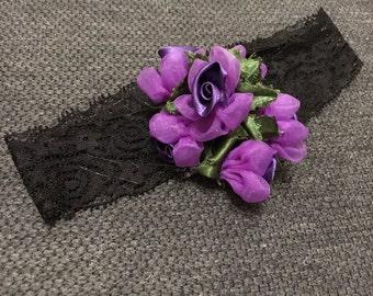 Baby/Girl Headband, Handmade, Black & Purple