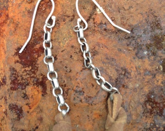 Leather and sterling silver chain earrings