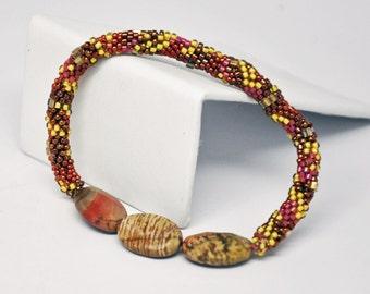 Jasper Sunset Crochet Bracelet