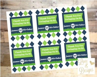 Green & Blue Argyle Golf Thank You Tags