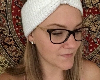 Crochet White Headband