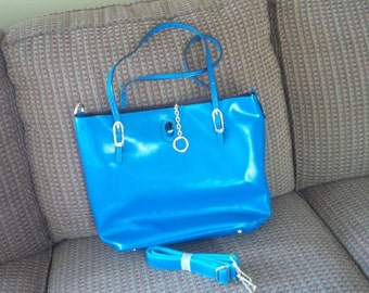 Royal Blue Leather tote bag with removable inner bag.