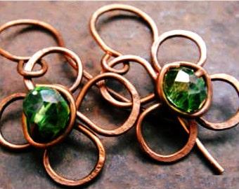 elegant copper wire wrap earrings