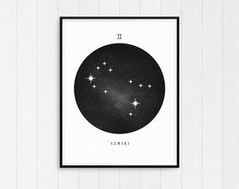 Gemini Print, Gemini Zodiac, Gemini Art, Gemini Printable Birthday Gift, Gemini Constellation, Horoscope Decor, Digital Download, Zodiac Art