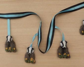 Badger Bunting,Badger Garland,Needle felted Badger,Felt Badger,Badger, gift,Badgers,