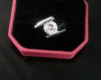 Cubic Zirconia Sterling Silver Ring Size 8.5
