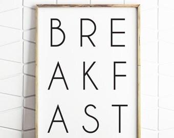 breakfast print, typography art, minimalist print, monochrome print, morning print, good morning, wall art prints, typography