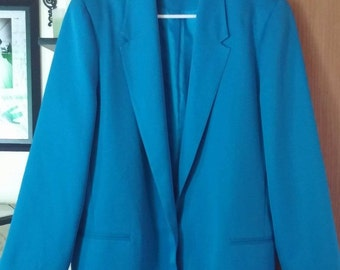 Women's Blue Da-Rue Long Sleeve Blazer Jacket Work Career Business Size 12? Vintage