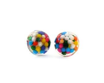 Rainbow Sprinkle Resin Earrings