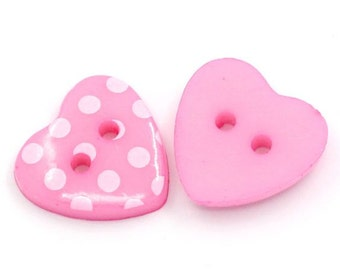 20 Pink Polka Dot Heart Acrylic Buttons 15mm Plastic 4 Hole for Scrapbooking, Sewing, Crafts - 51Q