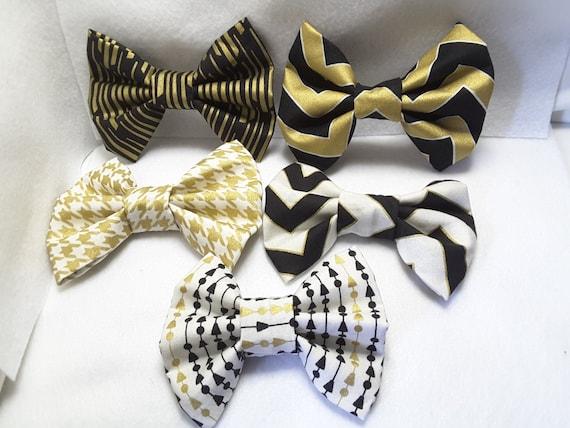 Gold and black hair bows, Gold hair bows, hair accessories,barrettes and clips,farbic hari bow