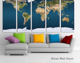 LARGE World Map Canvas Print Wall Art 3 Or 5 Panel Large On