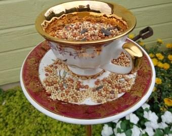 Standing tea cup bird feeder; vintage tea cup, tea cup and saucer, tea cup set, upcycled tea cup, garden art, garden decor