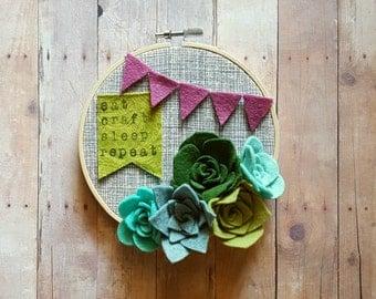 Eat.craft.sleep.repeat hoop art