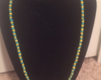 Blue and yellow tassel necklace