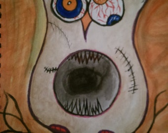 Mixed media owl