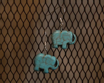 Torquiose Elephant Earrings