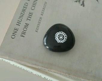 Original Hand Painted Black Rock Paperweight