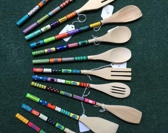 Hand-Painted, Small Wooden Spoons