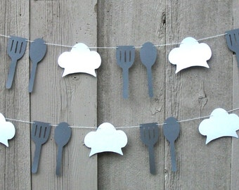 Chef hat garland, Food service decorations, Spoon and Spatula, White and Gray, Chef party, Edible, Culinary School, Culinary decorations