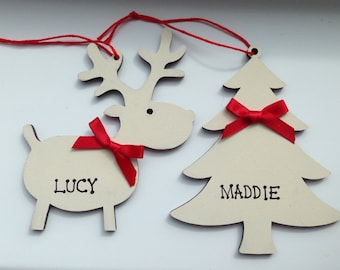 Christmas Personalised Bauble - Reindeer Christmas Tree - Christmas Gift Tag - Wedding Favour - Christmas Party Gift - PRE-ORDER