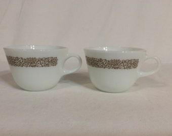 "Vintage Pyrex ""Woodland"" Pattern Cups - 2"