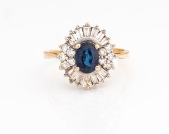 Vintage .90ct Sapphire and Diamond Cluster Ring with Yellow & White Gold, VJ #135