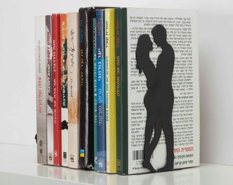 By the book - Bookend - for love and romance books. metal bookends. designed bookends.
