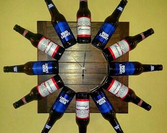 Beer Bottle Wall Clock Bud Light & Budweiser
