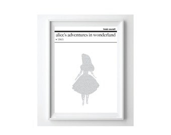 Alice in Wonderland Text Art Poster, Lewis Carroll