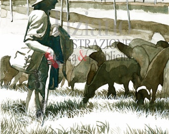 Grazing-original gouache and watercolor, painting.