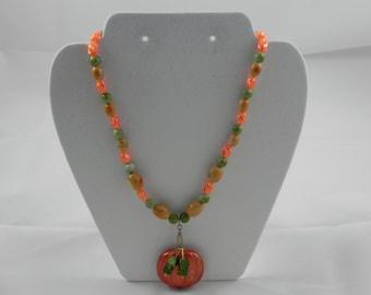 Beaded pumpkin necklace