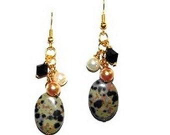 Dalmation Jasper Gemstone Gold Plated Earrings