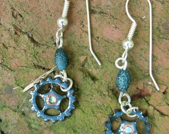 Steam punk inspired enamel earrings with sterling silver ear wires FREE Shipping!