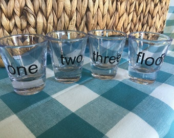 One Two Three Floor Shot Glasses