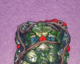 Green Man Pendant/Hand Made/Hand Painted/Clay/Pagan/Wiccan/Nature/Fantasy