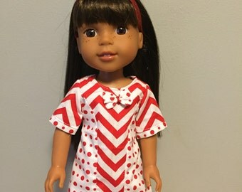 14.5 doll clothes in red chevrons and polka dots