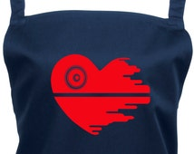 Love Star Wars Heart Shaped Death Star Apron with Pocket - 16 Colours - Star Wars Gift,1028
