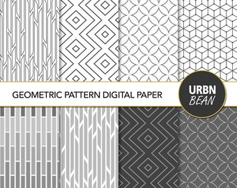 Digital Geometric Patterns - Black and White - Line Art Minimalist Printable Paper. Printable. Gift Wrap Papers. Instant Download.