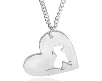 Pendant and necklace love dogs