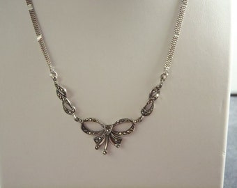Sterling Silver Marcasite Ribbon Necklace RN2