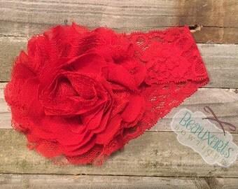 """5"""" Shredded Lace Chiffon Flower Headband"""