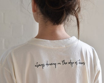 Always Dancing Tee, Embroidered Tshirt, Off White Tshirt,