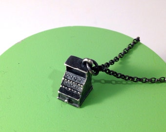Sterling Silver Vintage Cash Register Charm Necklace, Vintage Charm, Necklace, Jewellery, Cash Register, Women's Jewellery, Free Delivery,
