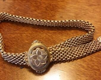 Antique Victorian Gold Mesh Bracelet Pat'D 1872